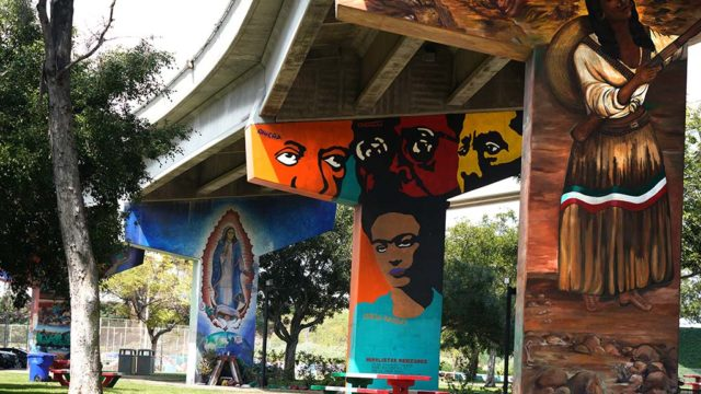 Chicano park, normally filled with family activities on weekends, remains closed.