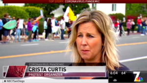 Crista Curtis was featured in several of the Encinitas protest.