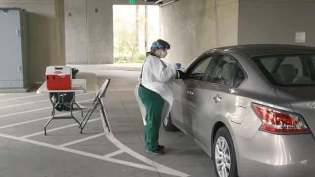 Drive-through COVID-19 testing