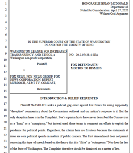 Fox News motion to dismiss WASHLITE suit. (PDF)