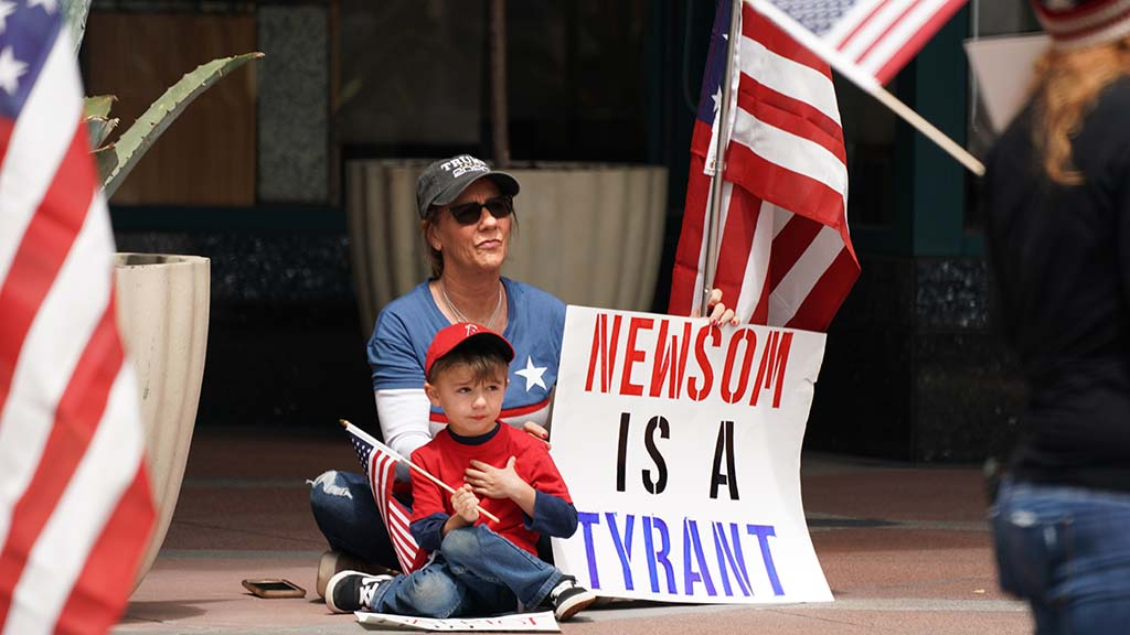 Young children were among the mostly adult crowd at the downtown protest.