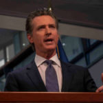 Gavin Newsom at media briefing