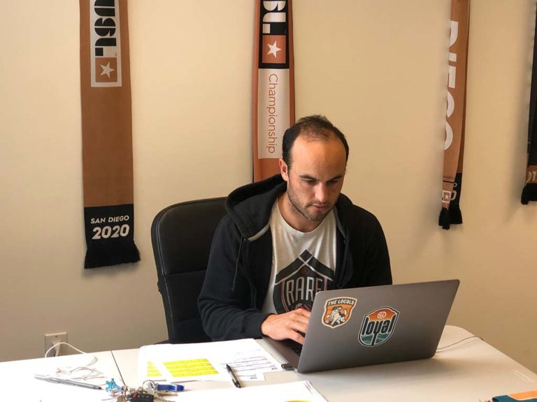 Landon Donovan, coach of San Diego Loyal Soccer Club, works at home. He's also a co-owner and executive VP of soccer operations.