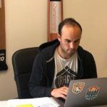 Landon Donovan, coach of San Diego Loyal Soccer Club, works at home.