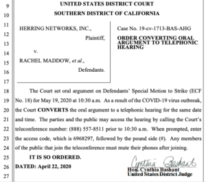 Judge Bashant's order to convert court hearing to a telephonic meeting. (PDF)