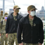 Sailors wear face coverings at Naval Base San Diego