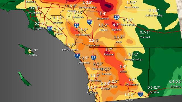 Βροχή Αναμένεται στο Σαν Ντιέγκο δευτέρα από την Αργή Μετακίνηση του Ειρηνικού Καταιγίδα