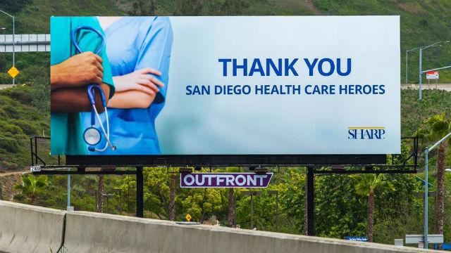"Billboard thanks healthcare ""heroes"""