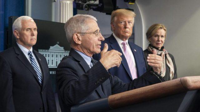 President Trump at a coronavirus briefing
