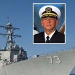"USS Decatur with Capt. John ""Bob"" Bowen inset."