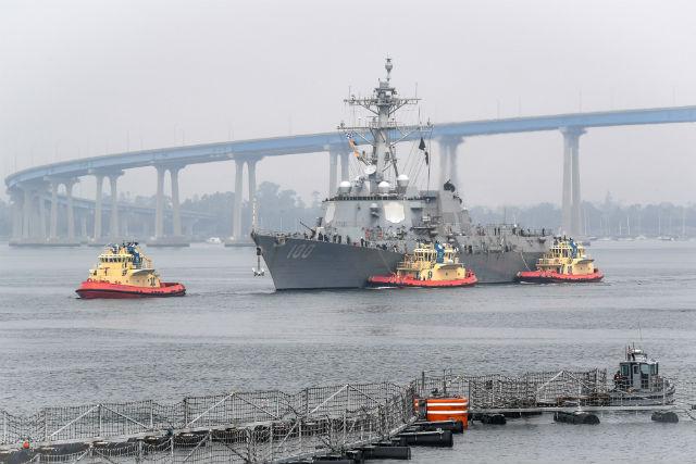USS Kidd prepares to dock in San Diego