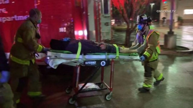 Paramedics with victim