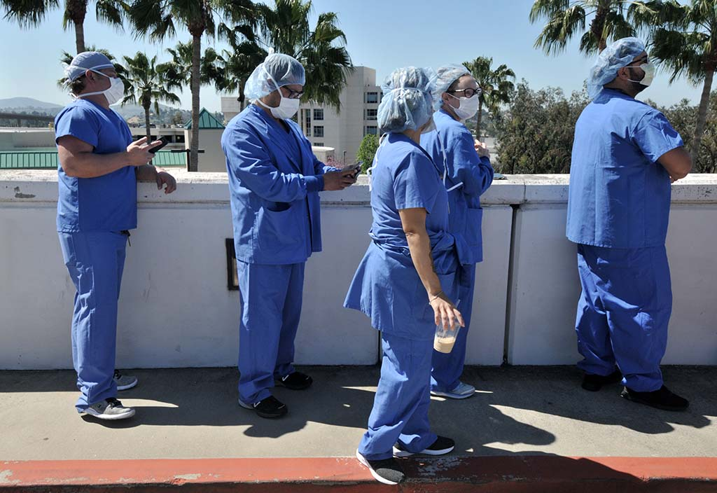 Sharp Grossmont Hospital workers waited for banner plane to arrive in La Mesa.