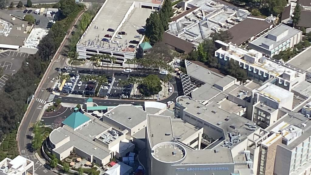 Sharp Grossmont Hospital in La Mesa, where staff assembled on ground and atop parking garage.