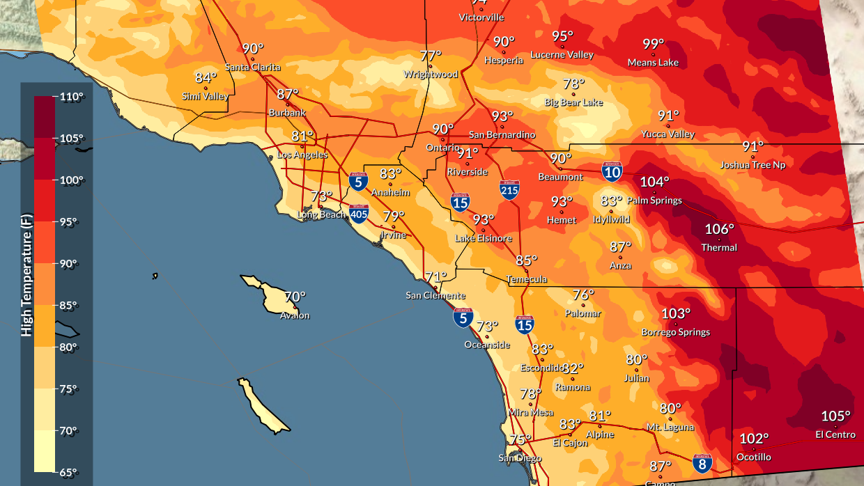 San Diego Weather Map San Diego Heatwave Expected to Continue Until Friday, Cooler Over