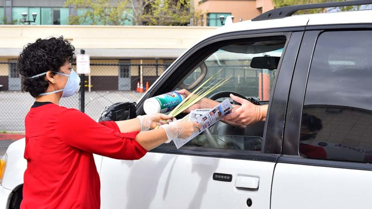 Maly Vargas, who works in the parish office at St. Rose of Lima in Chula Vista, hands a parishioner palms and a bulletin on Palm Sunday and receives a bottle of sanitary wipes in return.
