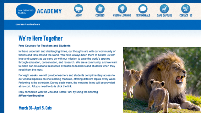 Free course modules from San Diego Zoo Global Academy.