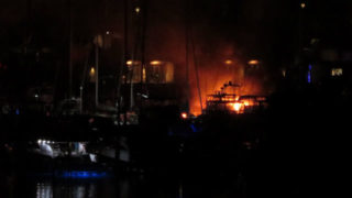 Flames from burning boats