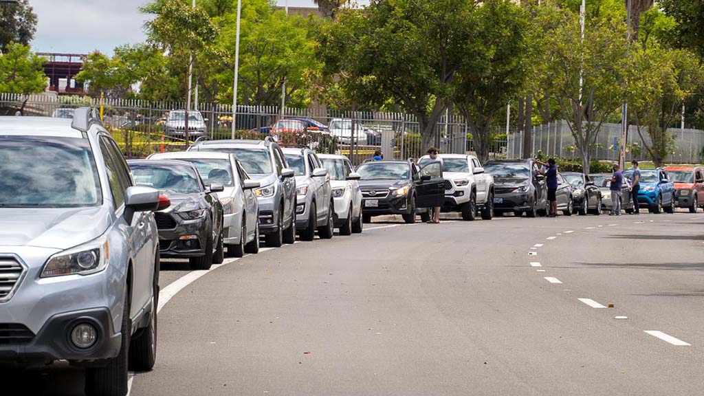 """About 40 cars participated in the """"Supervisors Caravan of Shame"""" Monday afternoon at the San Diego County Operations Center."""