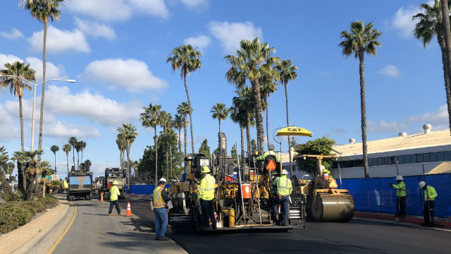 City crew repaving North Harbor Drive