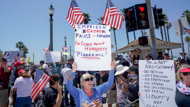 Protesters in Huntington Beach