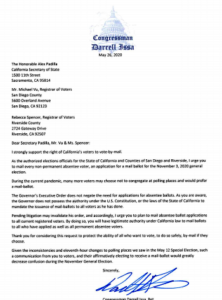 Darrell Issa's letter to state Secretary of State Alex Padilla and others. (PDF)