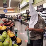 Photo circulating on social media allegedly of man wearing Ku Klux Klan hood at the Santee Vons grocery story.