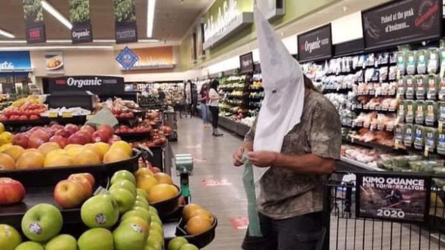 Photo circulating on social media of man wearing Ku Klux Klan hood at the Santee Vons grocery story.