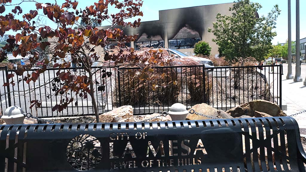 A historic La Mesa building occupied by the Randall Lamb firm was gutted by flames in La Mesa.