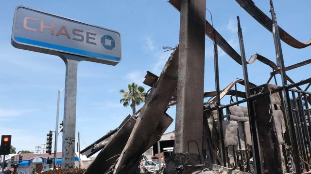 A Chase Bank's contents were destroyed