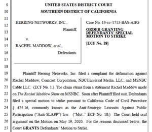 Judge Bashant's order dismissing OAN suit against Rachel Maddow (PDF)