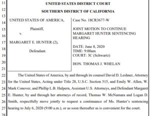 Joint motion for delay in Margaret Hunter sentencing (PDF)