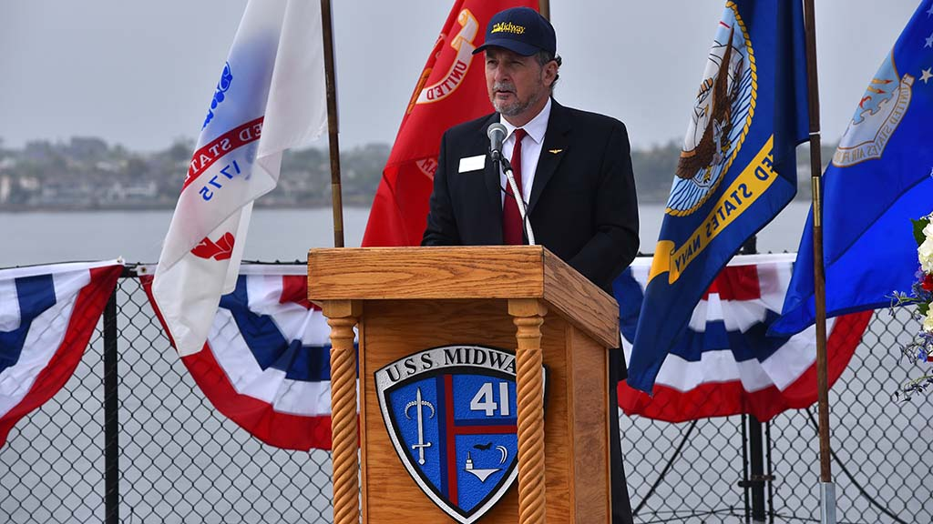 David Koontz, marketing director for the USS Midway, helped organize the Memorial Day simulcast between four sites in San Diego.