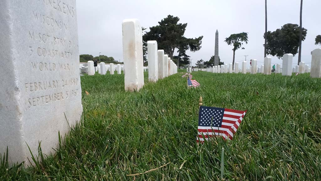 Covid-19 prevented the flag placement at each tombstone at Fort Rosecrans National Cemetery. But some families added their own.