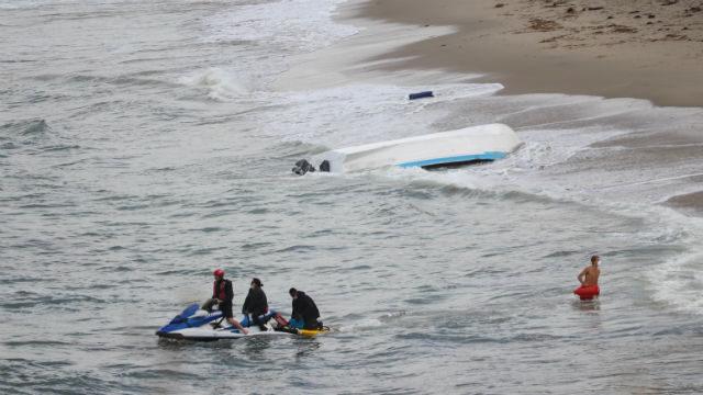 Overturned panga boat