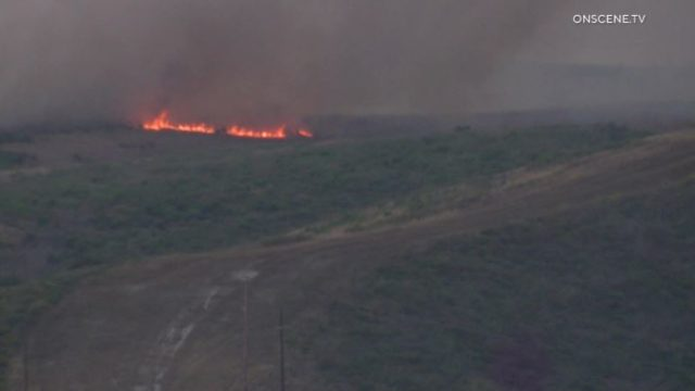 Flames from Camp Pendleton brush fire