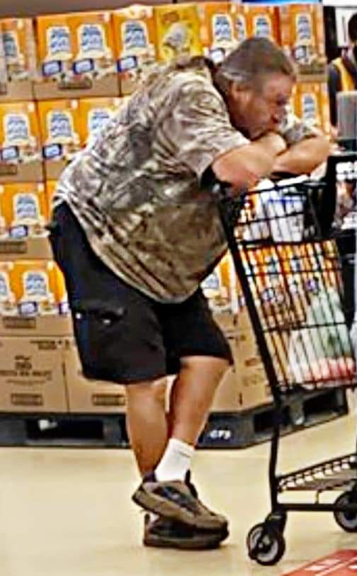 Photo circulating on social media of man who wore Ku Klux Klan hood at the Santee Vons grocery store.