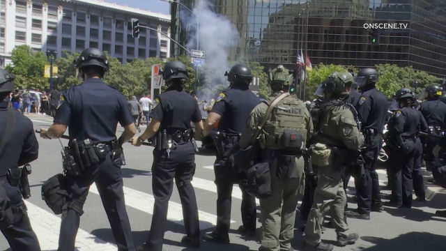 Police fire tear gas in downtown San Diego