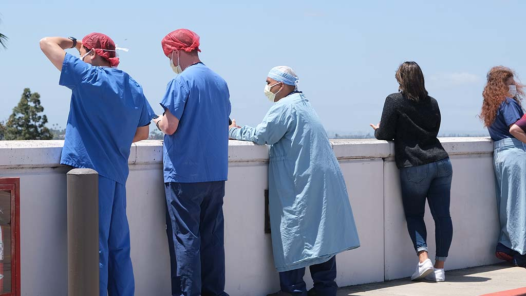 Sharp Grossmont Hospital workers await arrival of U.S. Air Force Thunderbirds' flyover.