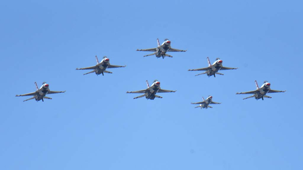 U.S. Air Force Thunderbirds approach Sharp Grossmont Hospital in formation.