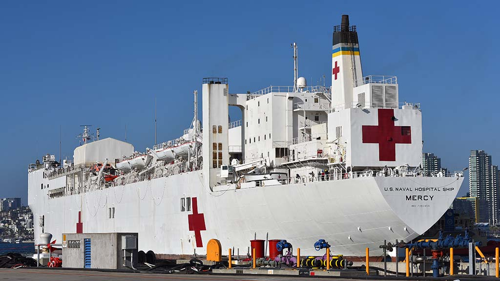 The 1,000 bed hospital ship USNS Mercy returned to North Island Naval Air Station after assisting in the Port of Los Angeles since March 27.