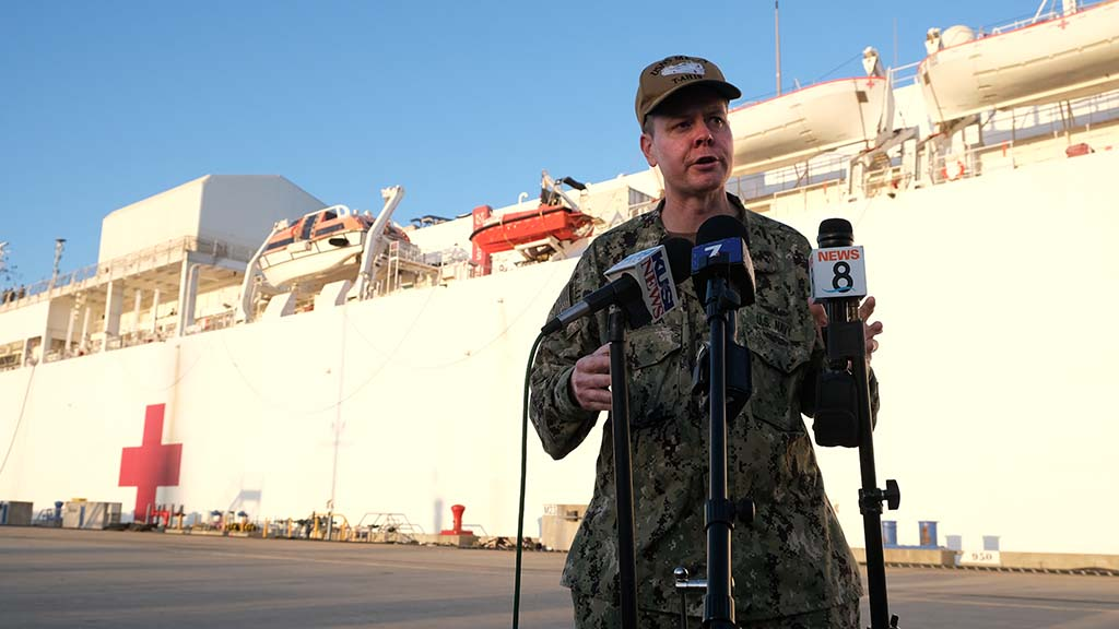 Capt. John Rotruck, commanding officer of Medical Treatment Facility of the USNS Mercy, speaks to the media after the hospital ship returned to North Island Naval Air Station Thursday evening.