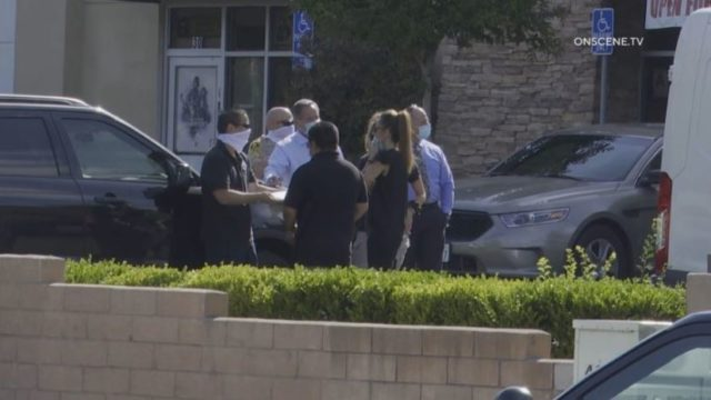 Sheriff's personnel at the scene of the shooting in Vista