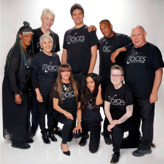 A selection of Voice of Our City Choir members from San Diego posed for AGT promotion.