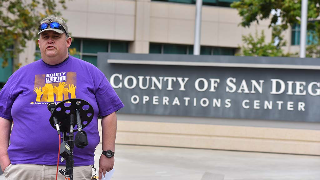 David Garcias, present of SEIU Local 221, called on the San Diego Board of Supervisors to approve hazard pay for essential workers and provide sufficient personal protection equipment.