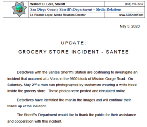 Sheriff's Department news release on hooded man being identified.