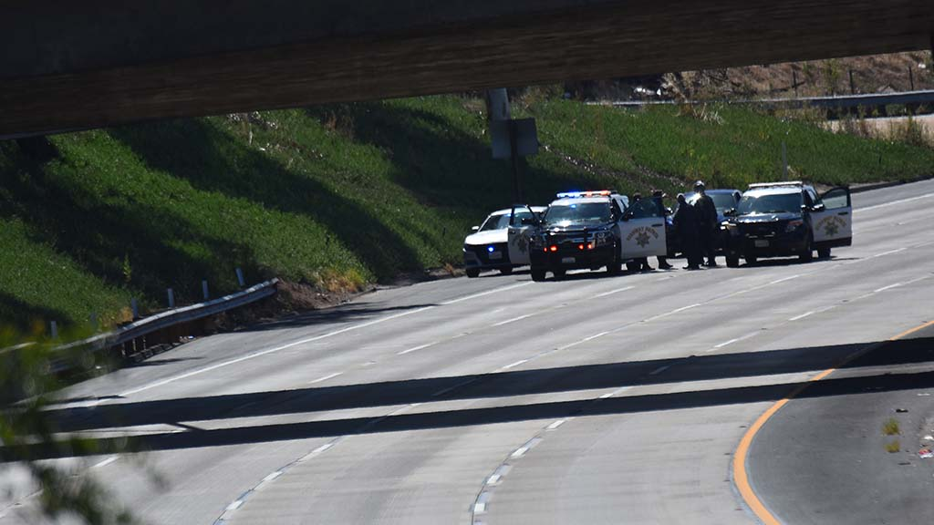 California Highway Patrol blocked Interstate 8 to make sure cars didn't head toward protesters.