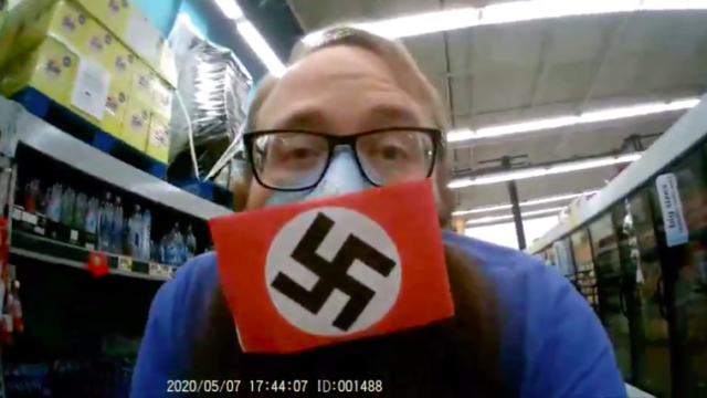 "A screen shot of Dustin Hart video of himself at Santee Food 4 Less includes a BitChute ID of ""1488,"" references to Hitler or neo-Nazi views."