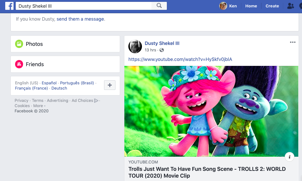 "In his first post on Dusty Shekel iii, Dustin Hart linked to the ""Trolls Just Wanna Have Fun"" song on the ""Trolls World Tour"" movie."