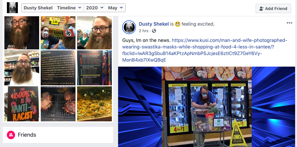 Dustin Hart celebrated on Facebook his appearing on local TV — in this case KUSI.